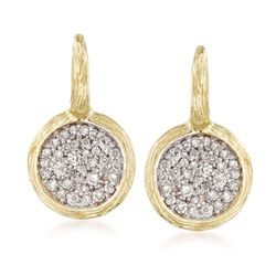 .80 ct. t.w. Pave Diamond Earrings in 14kt Yellow Gold , , default