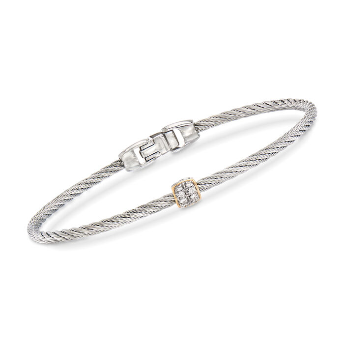 "ALOR ""Classique"" Gray Stainless Steel Cable Bracelet with Diamond Accents and 18kt Yellow Gold"