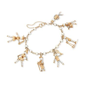 "C. 1980 Vintage 3-5.5mm Cultured Pearl Hobby Charm Bracelet in 14kt Yellow Gold. 7.5"", , default"