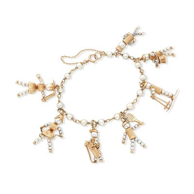 C. 1980 Vintage 3-5.5mm Cultured Pearl Hobby Charm Bracelet in 14kt Yellow Gold, , default