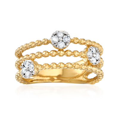 .25 ct. t.w. Diamond Cluster Multi-Row Ring in 18kt Gold Over Sterling