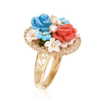 Italian Multi-Gemstone Flower Ring in 18kt Yellow Gold Over Sterling Silver, , default