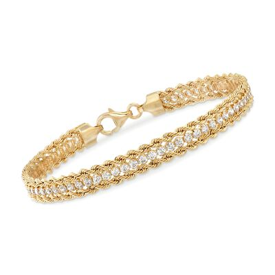 Italian 2.30 ct. t.w. CZ Rope Chain Bracelet in 14kt Yellow Gold, , default
