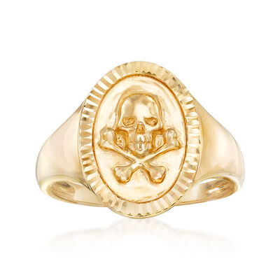 14kt Yellow Gold Skull and Bones Signet Ring, , default