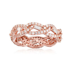 1.18 ct. t.w. CZ Interwoven Eternity Band in 14kt Rose Gold Over Sterling, , default