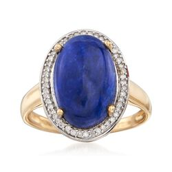 Lapis and .14 ct. t.w. Diamond Ring in 14kt Yellow Gold, , default