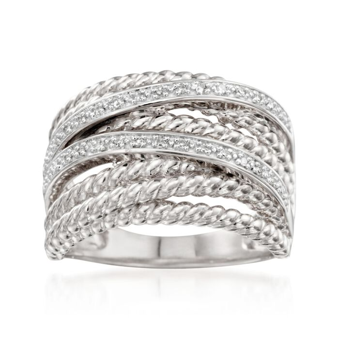 .10 ct. t.w. Diamond Twisted Highway Ring in Sterling Silver, , default