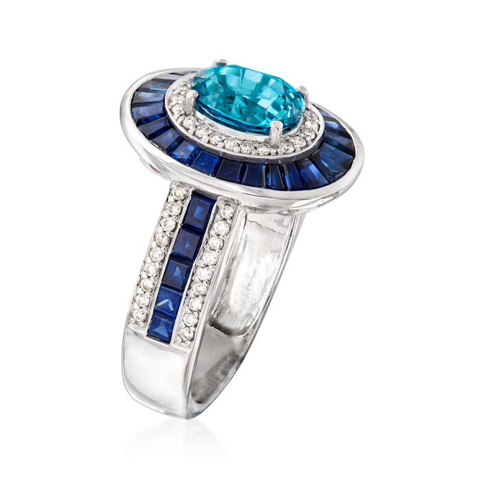 1.90 Carat Blue Zircon and 1.60 ct. t.w. Sapphire with .29 ct. t.w. Diamond Ring in 14kt White Gold