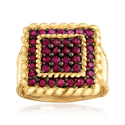1.50 ct. t.w. Ruby Square-Shaped Ring in 18kt Yellow Gold Over Sterling Silver, , default