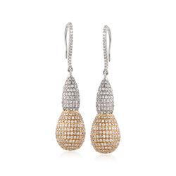 3.90 ct. t.w. Diamond Elongated Bead Drop Earrings in 14kt Two-Tone Gold, , default