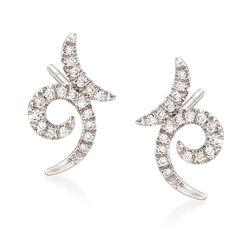 Gabriel Designs .20 ct. t.w. Diamond Swirl Earrings in 14kt White Gold, , default