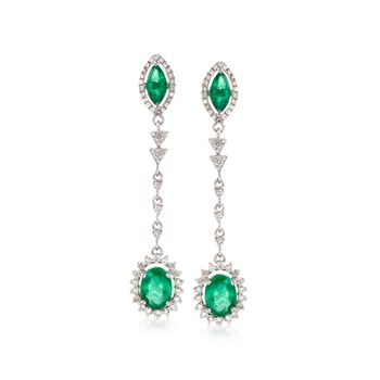 2.70 ct. t.w. Emerald and .90 ct. t.w. Diamond Linear Earrings in 18kt White Gold, , default