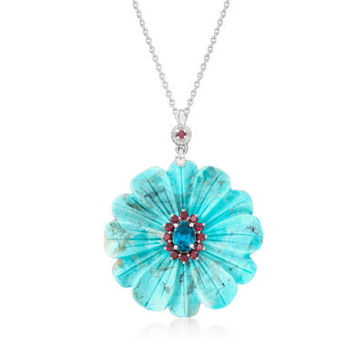 Turquoise, .90 Carat London Blue Topaz and .30 ct. t.w. Rhodolite Garnet Flower Pendant Necklace in Sterling Silver