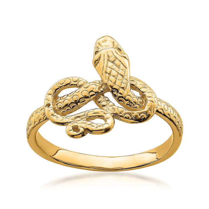 14kt Yellow Gold Snake Ring. Size 7