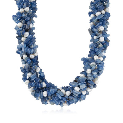 905.00 ct. t.w. Kyanite and 5-6mm Cultured Pearl Torsade Necklace in Sterling Silver