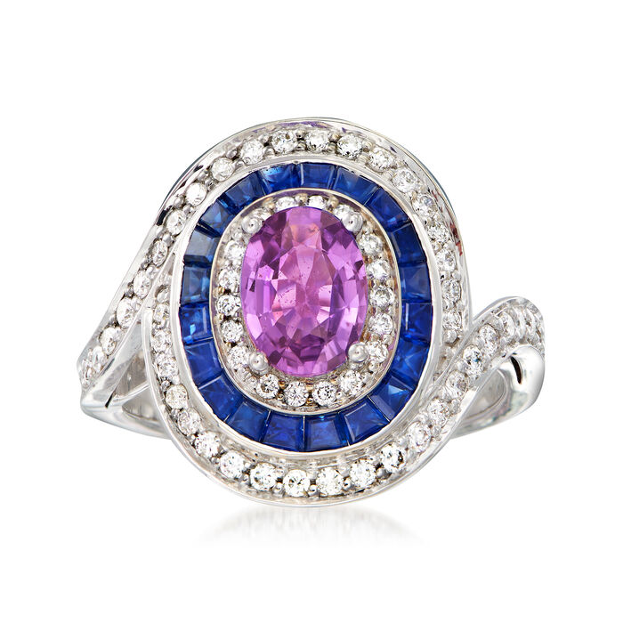 2.90 ct. t.w. Blue and Purple Sapphire Ring with .62 ct. t.w. Diamonds in 14kt White Gold