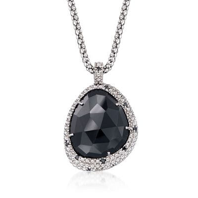 "Phillip Gavriel ""Popcorn"" Black Onyx and Black Spinel Pendant Necklace in Sterling Silver, , default"