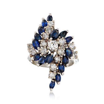 C. 1970 Vintage 3.00 ct. t.w. Sapphire and 1.25 ct. t.w. Diamond Cluster Ring in 14kt White Gold