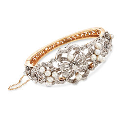 "C. 1950 Vintage 3-4mm Cultured Pearl and 1.20 ct. t.w. Diamond Bangle Bracelet in 14kt Two-Tone Gold. 6.5"", , default"