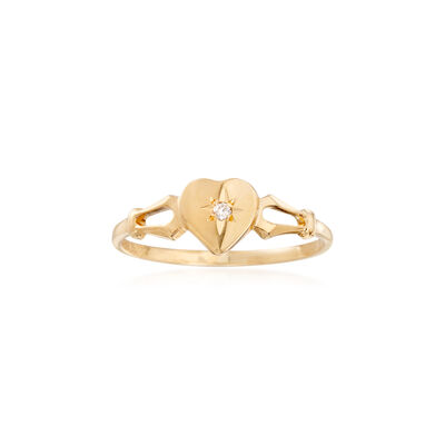 Child's 14kt Yellow Gold Heart Ring With Diamond Accent, , default