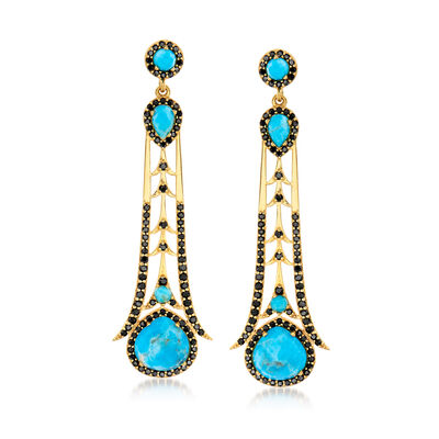 Multi-Shaped Stabilized Turquoise and 2.90 ct. t.w. Black Spinel Drop Earrings in 18kt Gold Over Sterling , , default