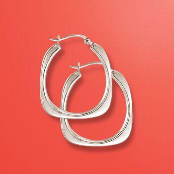 """Italian Sterling Silver Flat-Edged Hoop Earrings. 1 1/4"""", , default"""