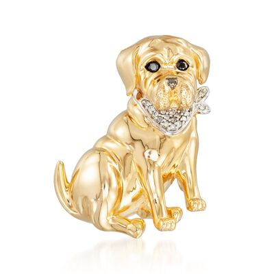 18kt Yellow Gold Over Sterling Dog Pin Pendant with Diamond Accents and Black Spinels, , default