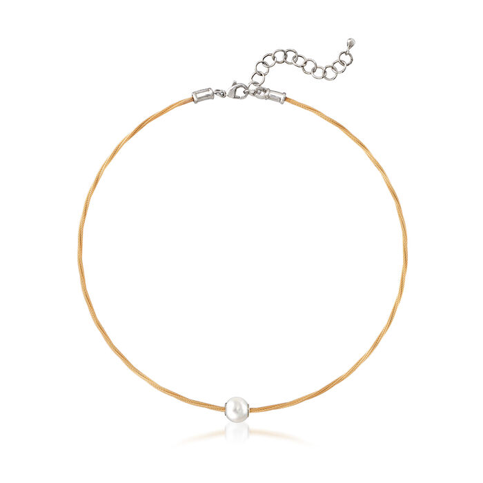 """ALOR """"Classique"""" Yellow Stainless Steel Cable and 8mm Cultured Pearl Necklace. 13"""", , default"""