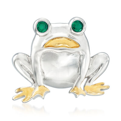 .30 ct. t.w. Simulated Emerald Frog Pin in Sterling Silver and 18kt Gold Over Sterling