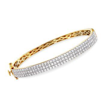 "3.30 ct. t.w. Diamond Triple-Row Bangle Bracelet in 14kt Yellow Gold. 7"", , default"