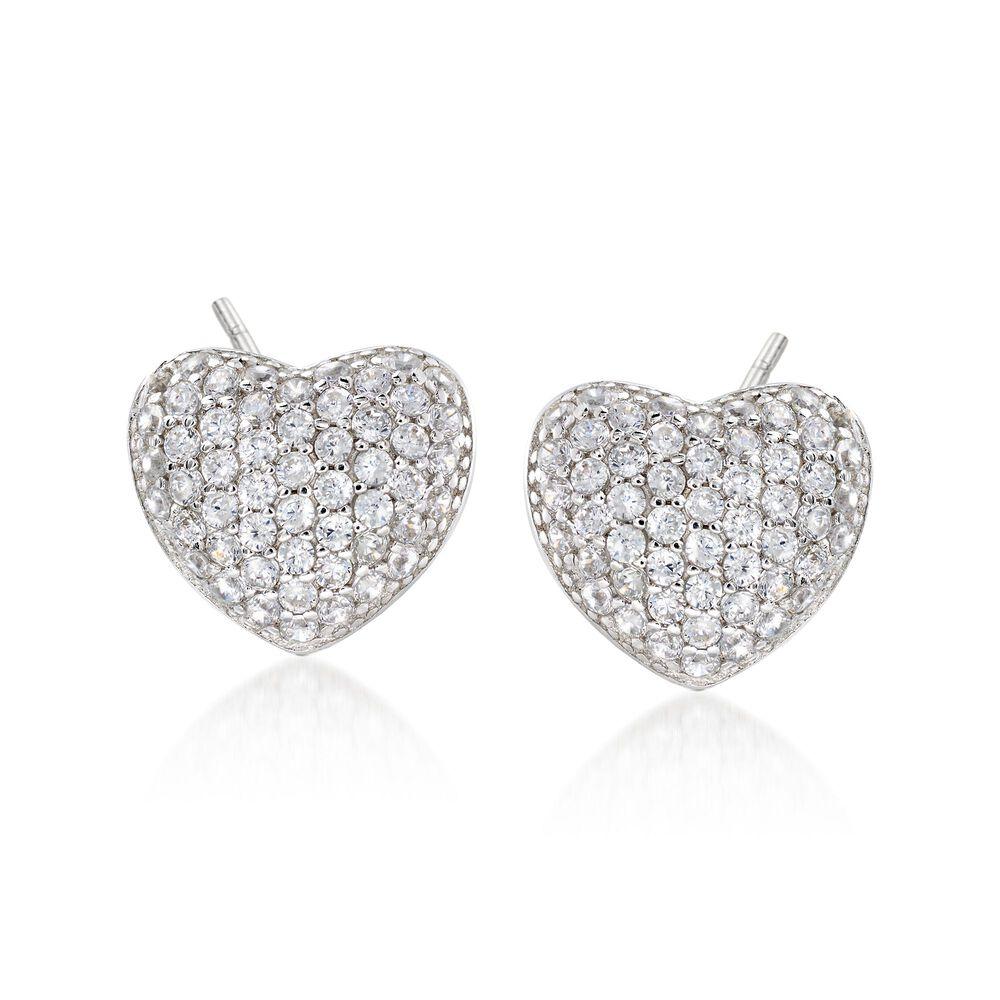 T W Cz Heart Earrings In Sterling Silver Default