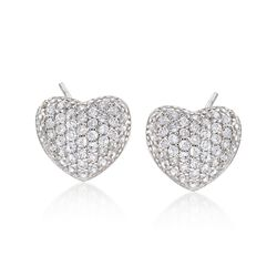.50 ct. t.w. CZ Heart Earrings in Sterling Silver, , default