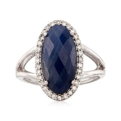6.25 Carat Oval Sapphire and .29 ct. t.w. Diamond Ring in Sterling Silver, , default