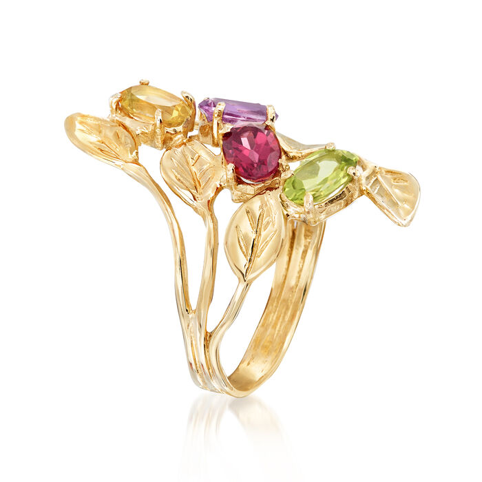1.90 ct. t.w. Multi-Gemstone Leaf Bypass Ring in 14kt Yellow Gold