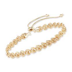 14kt Yellow Gold Rosette-Link Bolo Bracelet, , default