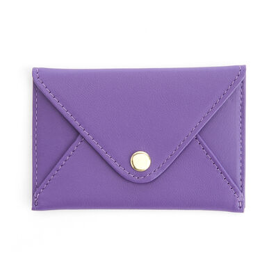 Royce Purple Leather Three-Initial Envelope-Style Business Card Holder