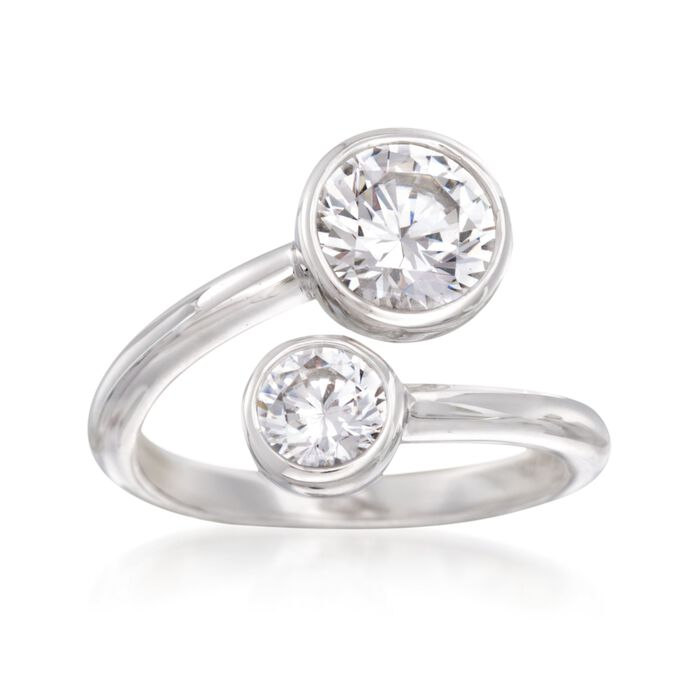 2.00 ct. t.w. Bezel-Set CZ Bypass Ring in Sterling Silver, , default