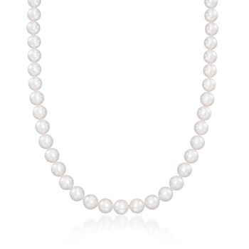 Mikimoto 7-8mm A1 Akoya Pearl Jewelry Set: Earrings, Necklace and Bracelet with 18kt White Gold. 18""