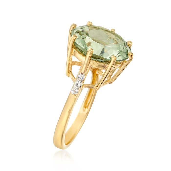 7.50 Carat Green Prasiolite Ring with White Topaz Accents in 14kt Gold Over Sterling