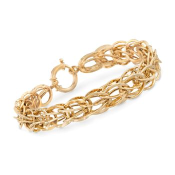 14kt Gold Over Sterling Silver Oval Link Bracelet, , default