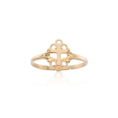 Child's 14kt Yellow Gold Cross Ring, , default