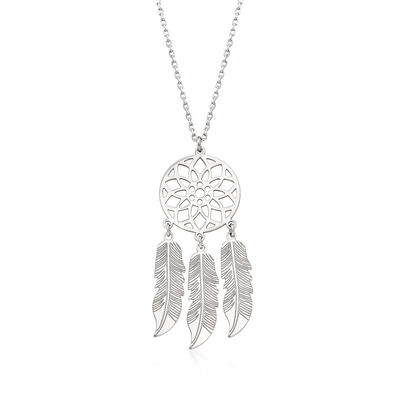 Italian Sterling Silver Dreamcatcher Necklace , , default