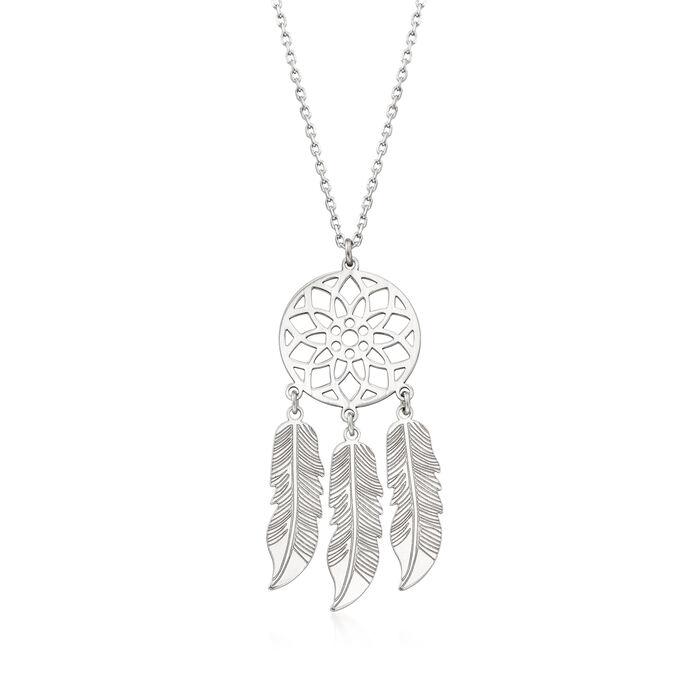 Italian Sterling Silver Dreamcatcher Necklace