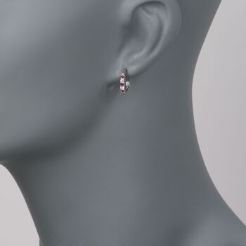""".30 ct. t.w. Ruby and .10 ct. t.w. Diamond Hoop Earrings in 14kt White Gold. 1/2"""", , default"""