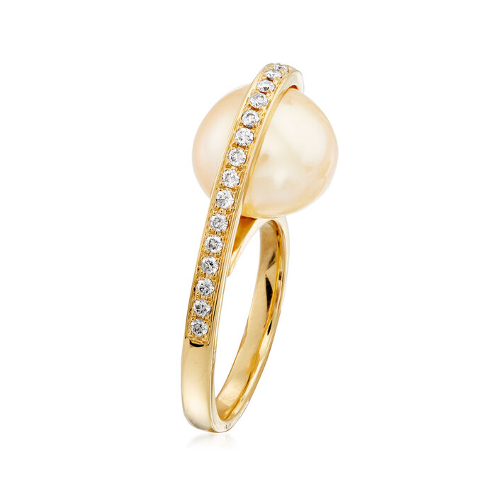 Golden Cultured South Sea Pearl and .30 ct. t.w. Diamond Ring in 18kt Yellow Gold