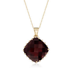 11.00 Carat Garnet Pendant Necklace in 14kt Yellow Gold, , default