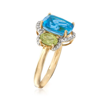 3.60 Carat Blue Topaz, .90 ct. t.w. Peridot and .11 ct. t.w. Diamond Ring in 14kt Yellow Gold