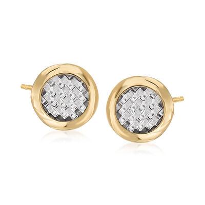 Italian 14kt Two-Tone Gold Basketweave Stud Earrings