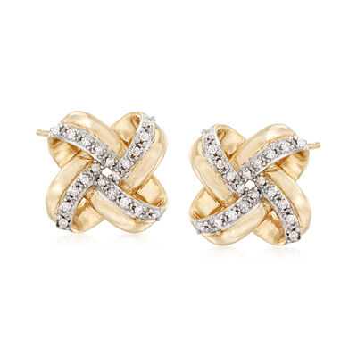 .10 ct. t.w. Diamond Love Knot Stud Earrings in 14kt Yellow Gold, , default