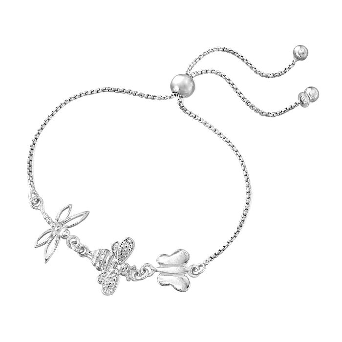 Italian Sterling Silver Butterfly, Bee and Dragonfly Bolo Bracelet